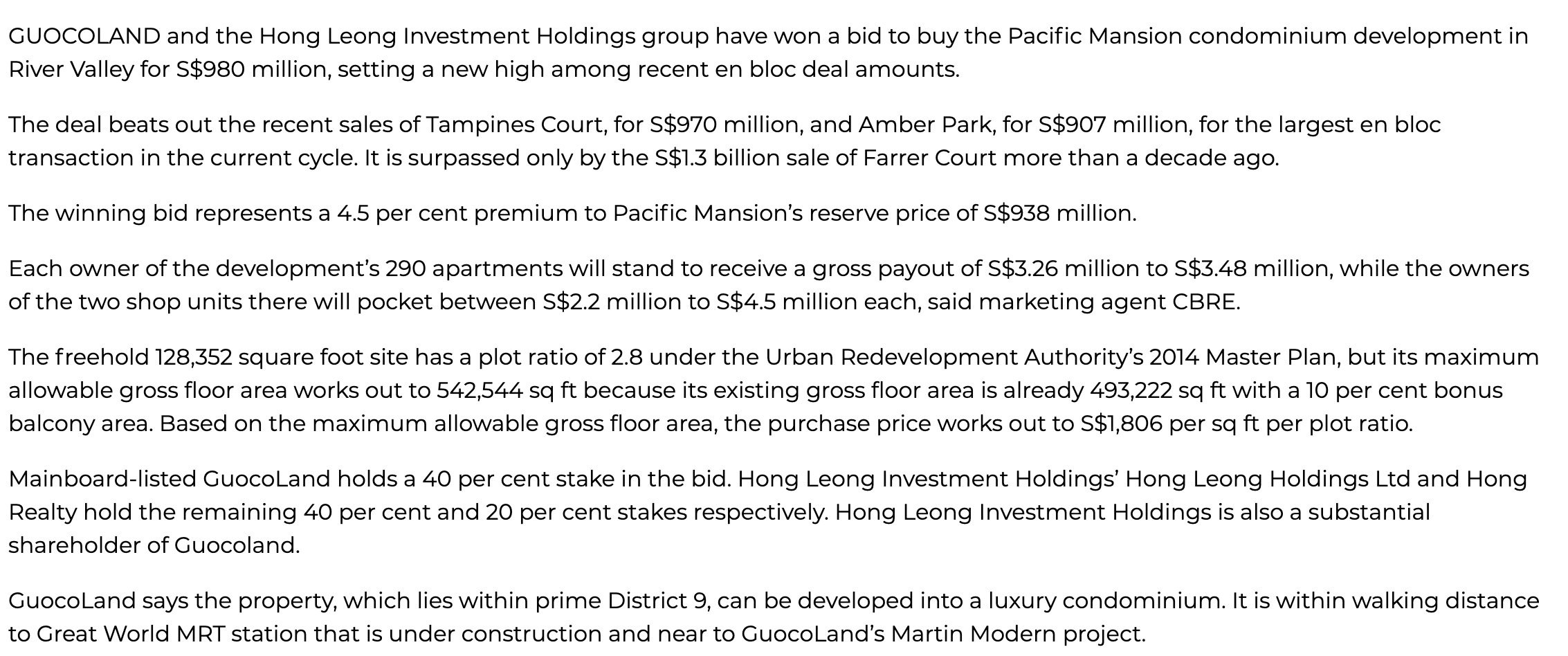 the-avenir-GuocoLand, Hong Leong group bag Pacific Mansion for S$980m, in second-biggest ever en bloc deal